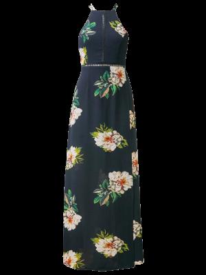 Backless Floral Dress With Ladder Detail - Purplish Blue