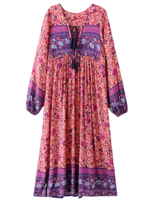 Long Sleeve Ethnic Printed Midi Dress - Jacinth