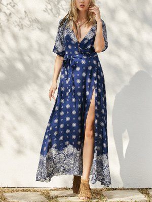 Bohemian Printed Belted Maxi Dress - Purplish Blue