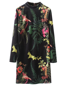 Plant Print Straight Velevt Shift Dress - Black S
