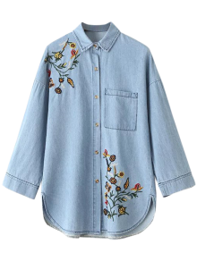Oversized Embroidered Jean Shirt - Blue