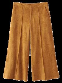 Gaucho Faux Suede Pants - Dark Khaki S