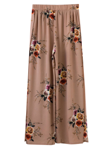 Slit Floral Wide Leg Pants - Pale Pinkish Grey
