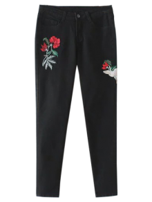Embroidered Tapered Jeans - Black