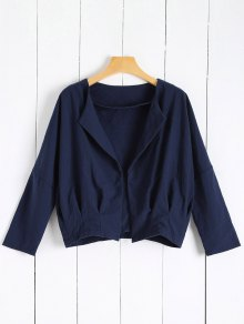 Solid Color Batwing Sleeve Round Neck Jacket - Deep Blue M