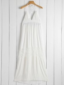 Open Back Halter Lace Panel Maxi Dress