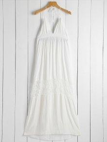Open Back Halter Lace Panel Maxi Dress - White