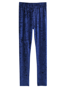 Skinny Velvet Leggings - Cadetblue