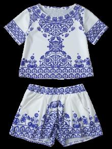 Cropped Short Sleeve T-Shirt And Shorts Set BLUE AND WHITE: Shorts ...