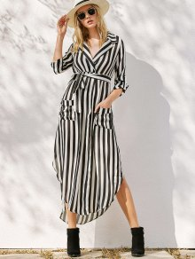 Striped Belted Asymmetric Maxi Dress With Pockets - White And Black
