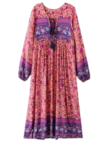 Long Sleeve Ethnic Printed Midi Dress - Jacinth L