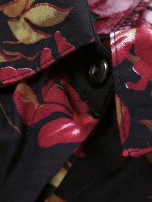 Leaf Print Maxi Shirt Dress - BLACK S