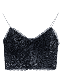 Embroidered Lace Panel Bra