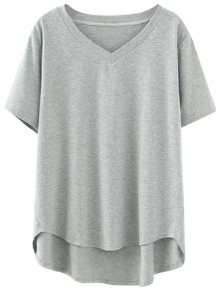 High Low V Neck T-Shirt