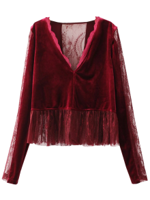 Ruffles Lace Panel Velvet Blouse