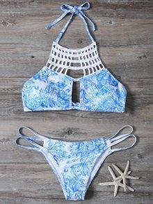 Printed String Cut Out Bikini Set - Blue