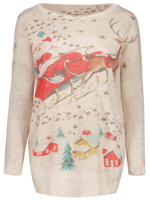 Christmas Deer Oversized Jumper - BEIGE ONE SIZE(FIT SIZE XS TO M)