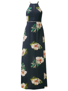 Backless Floral Dress With Ladder Detail - Purplish Blue