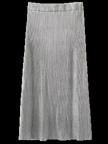 Glitter Pleated Midi Skirt - Silver S