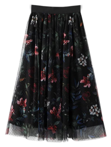 Layered Tulle Floral Skirt