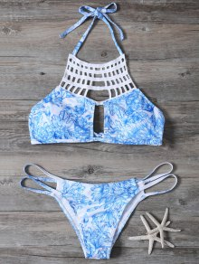 Printed String Cut Out Bikini Set - Blue M