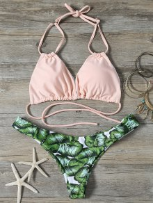 String Low Cut Tropical Print Bikini Set - Green M
