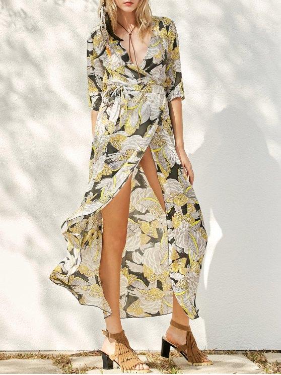 طباعة الشيفون فستان ماكسي - الأصفر L