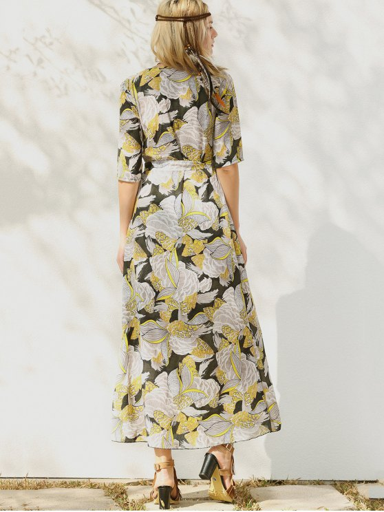 Print Slit Maxi Dress - YELLOW M Mobile
