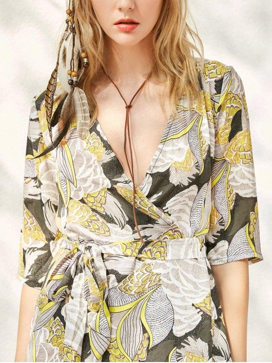 Print Slit Maxi Dress - YELLOW S Mobile