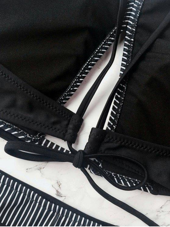 Stripe High Neck Cutout Bikini - BLACK M Mobile
