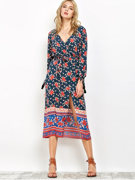 Bubble Sleeve Printed Wrap Dress - CADETBLUE S Mobile