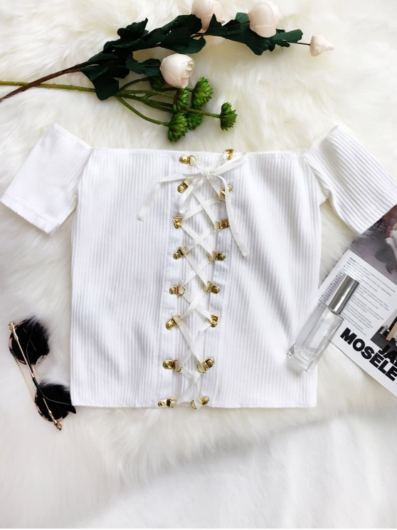 Lace Up Off The Shoulder Cropped Top - Blanc TAILLE MOYENNE