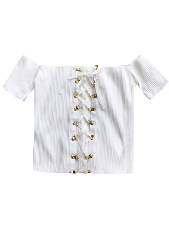 Lace Up Off The Shoulder Cropped Top - WHITE ONE SIZE Mobile