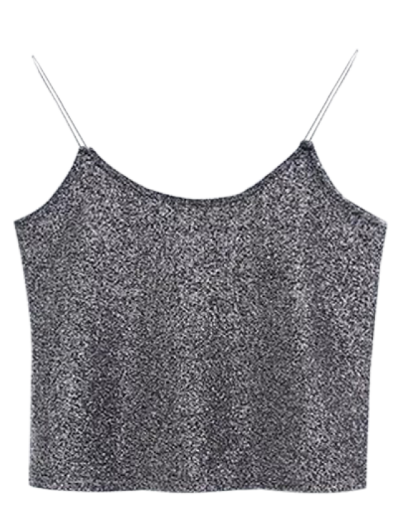 online Glitter Cropped Cami Top - GRAY ONE SIZE