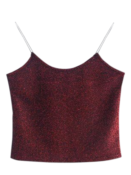 hot Glitter Cropped Cami Top - WINE RED ONE SIZE