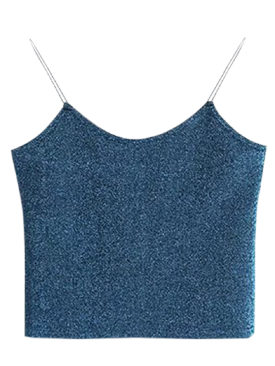 outfit Glitter Cropped Cami Top - PEACOCK BLUE ONE SIZE