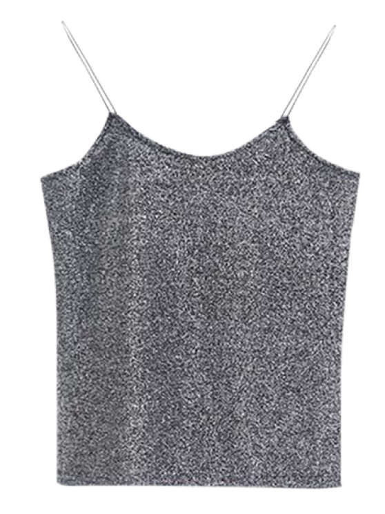 latest Glitter Spaghetti Strap Top - GRAY ONE SIZE