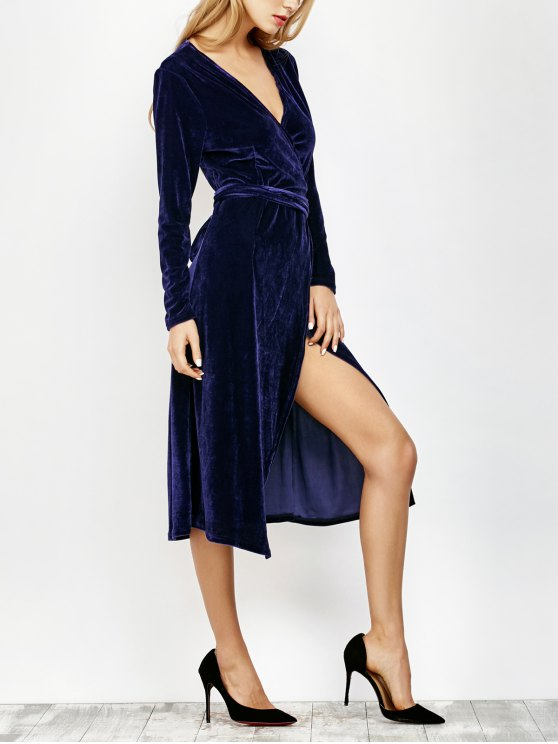 unique V Neck Slit Velvet Wrap Midi Dress - DEEP BLUE S