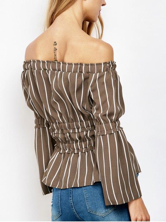 Ruched Off The Shoulder Striped Blouse - STRIPE L Mobile