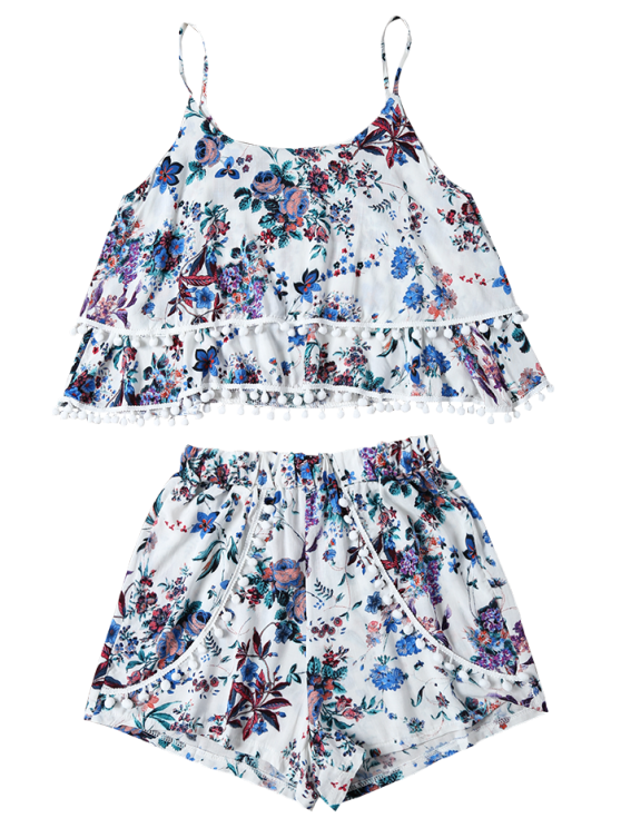 Floral Print Layered Cami Top and Shorts - BLUE S Mobile