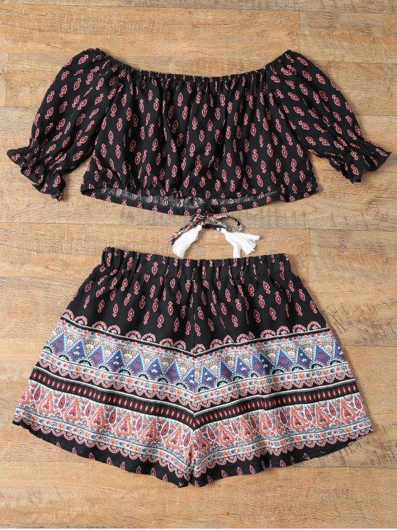 Floral Off Shoulder Crop Top and Shorts - BLACK XL Mobile