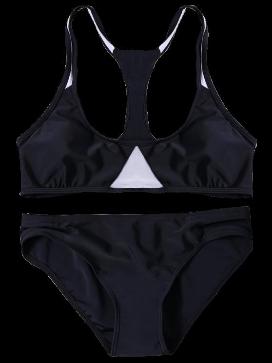 Sexy Color Block Halter Bikini Set - BLACK M Mobile