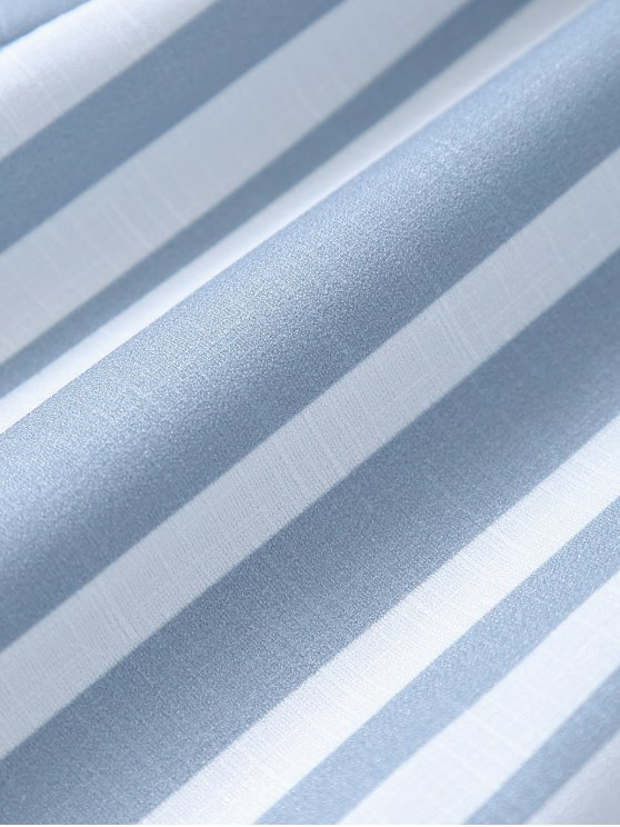 Striped Spaghetti Strap Back Knotted Romper - COLORMIX S Mobile