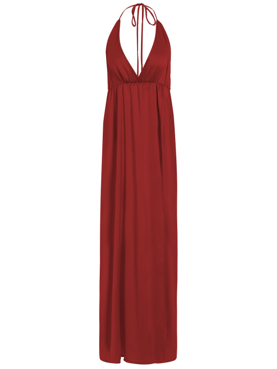 outfits Strappy Sateen Maxi Evening Dress - RED S