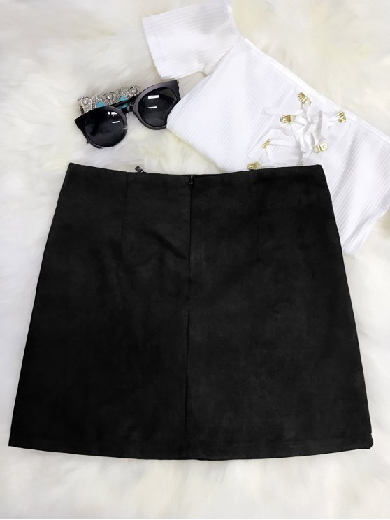 Embroidered Mini Faux Suede Skirt - BLACK L Mobile