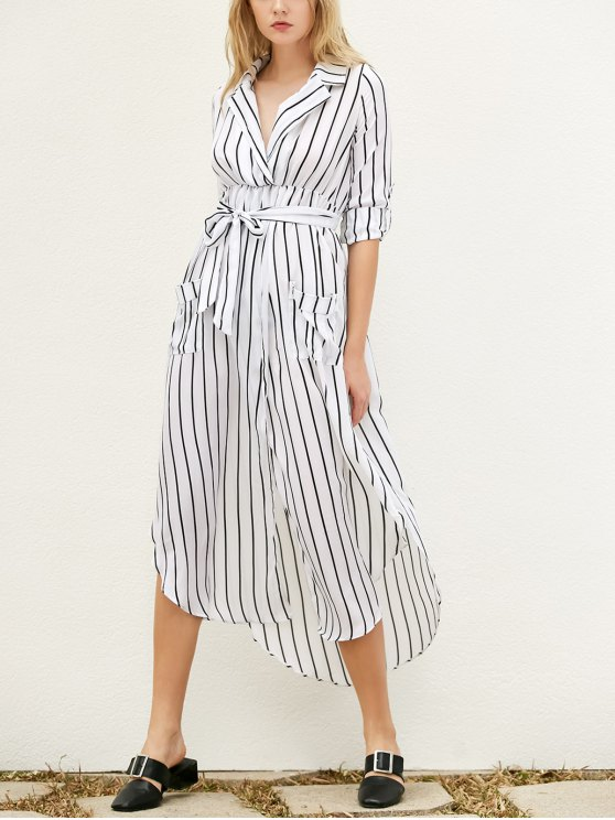 lady Slit Striped Long Sleeve Dress With Pockets - WHITE L