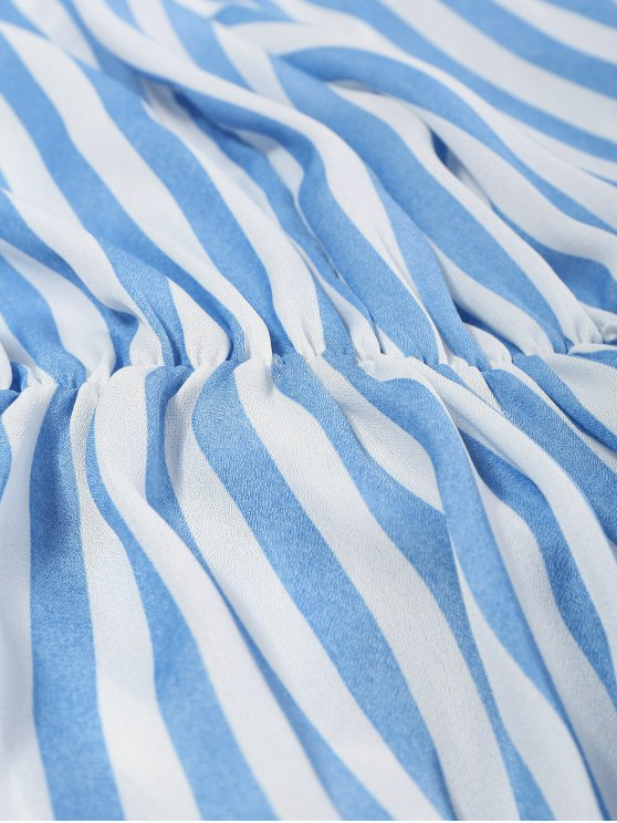 Striped Slit Maxi Dress With Pockets - BLUE L Mobile