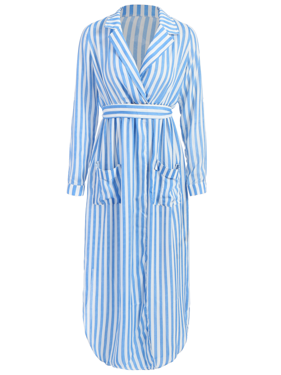 Striped Slit Maxi Dress With Pockets - BLUE S Mobile