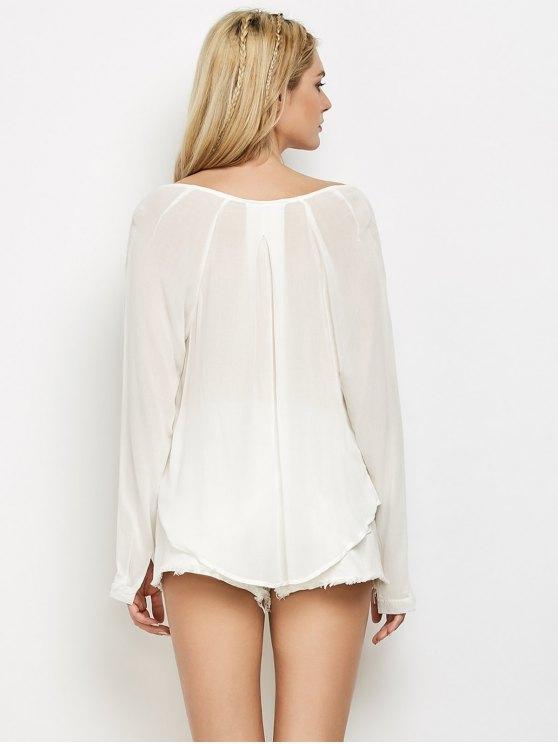 Surplice High Low T-Shirt - WHITE L Mobile