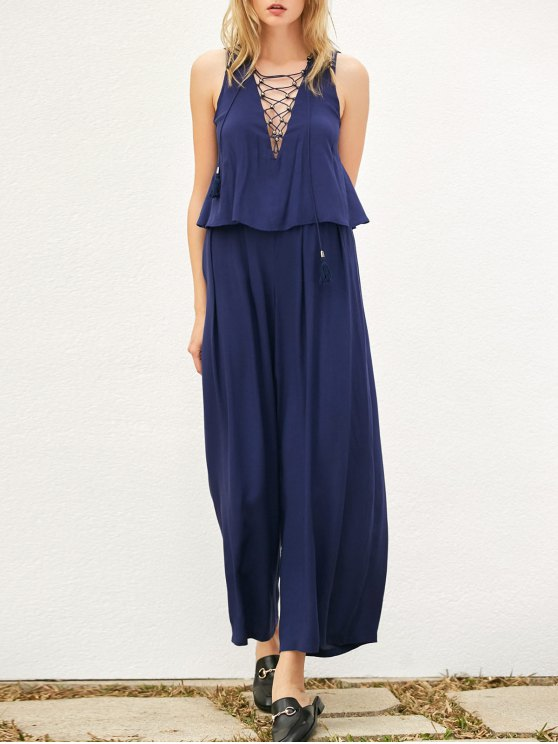 unique Layered Lace Up Palazzo Jumpsuit - CADETBLUE M